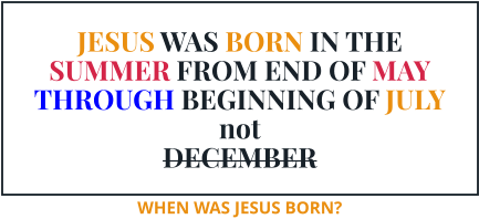 JESUS WAS BORN IN THE SUMMER FROM END OF MAY THROUGH BEGINNING OF JULY not DECEMBER WHEN WAS JESUS BORN?